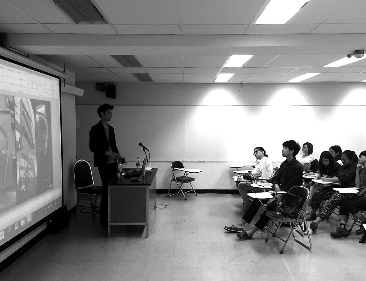 Jay Suthadarat lecturing at Silpakorn U.